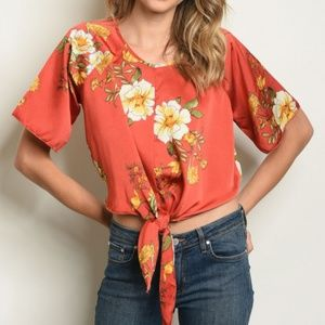 NWT Blood Orange Floral Tie Front Blouse